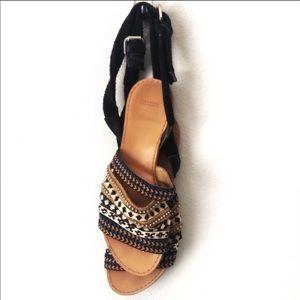 ZARA strappy crystal ankle wrap boho flat …
